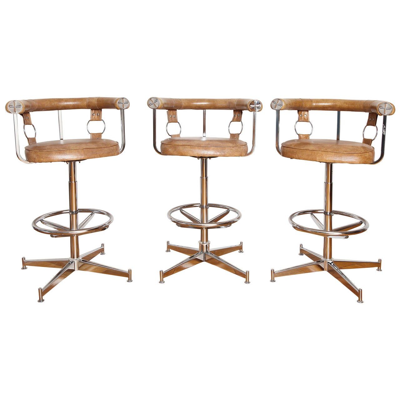 set of three chrome and vinyl swivel bar stools at 1stdibs. Black Bedroom Furniture Sets. Home Design Ideas