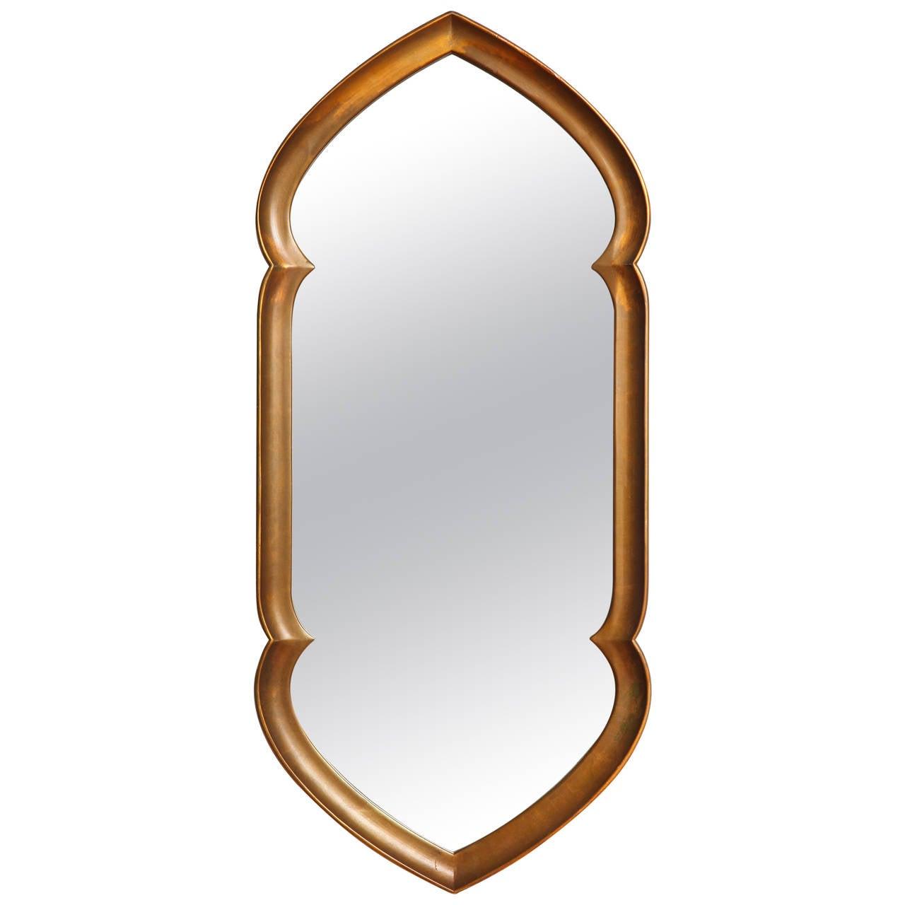 Mid century modern gilt mirror in arabesque form by la for Modern wall mirror