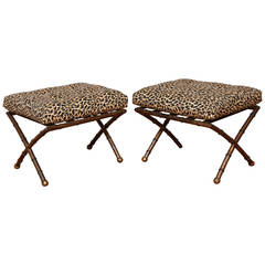 Pair of X-Form Gilt Metal Faux Bamboo Ottomans with Leopard Print Fabric