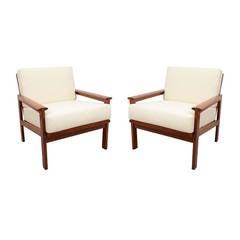 Pair of Danish Modern Teak Wood Open Armchairs by George Tanier