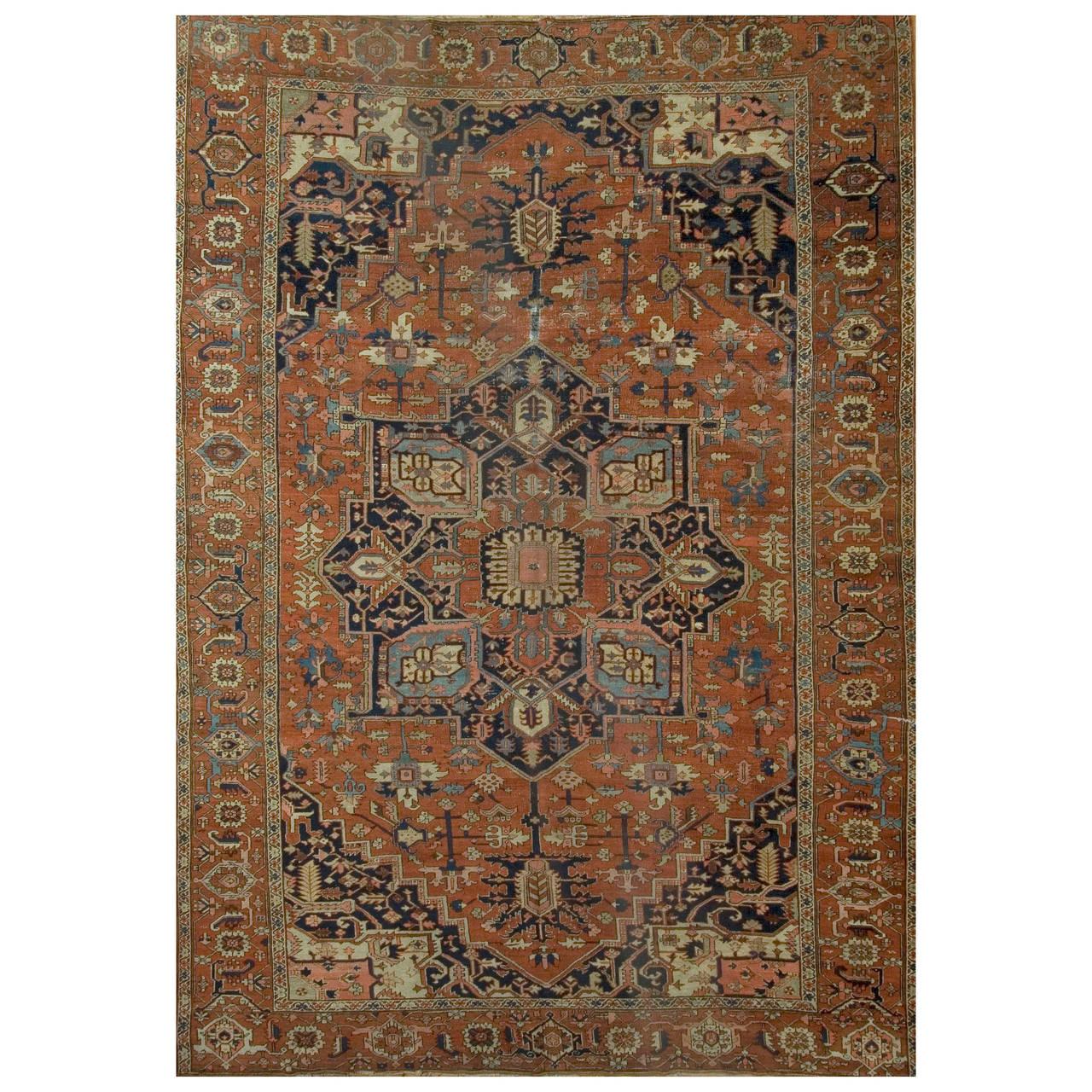Vintage Persian Heriz Design Wool Area Rug: Antique Heriz Serapi Rug, Circa 1880 For Sale At 1stdibs