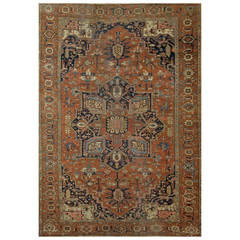 Antique Heriz Serapi Rug, circa 1880