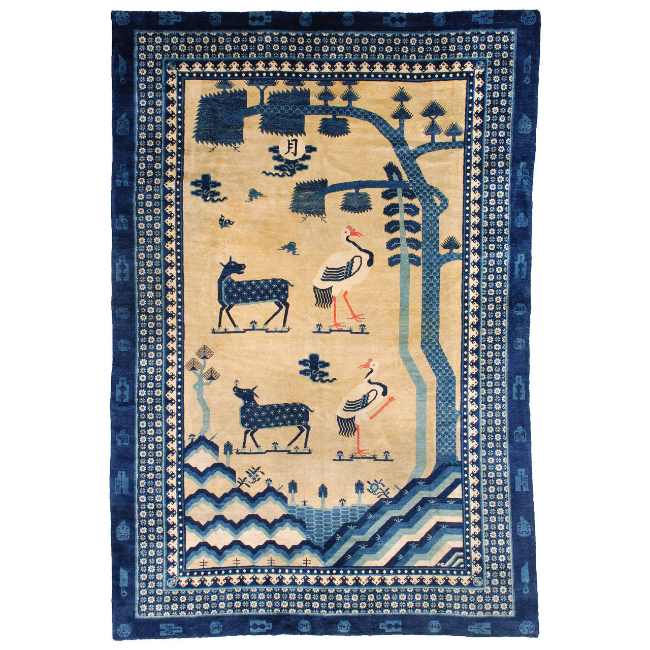 Antique Chinese Rug: Antique Mongolian Chinese Oriental Rug