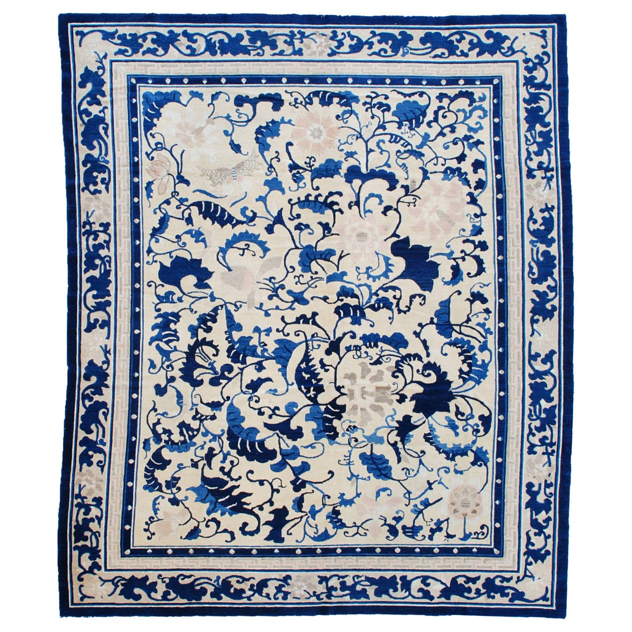 Antique Chinese Rug: Antique Peking Chinese Oriental Rug