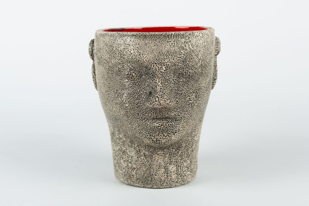 Brutalist Pottery Head Cup By Francis Triay White Red