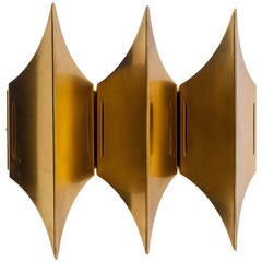 Gothic Three Sconce by Lyfa, Brass, Denmark, 1960s