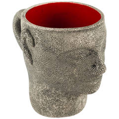 Brutalist Pottery Head Cup by Francis Triay, White Red Glaze Inside, France 1970
