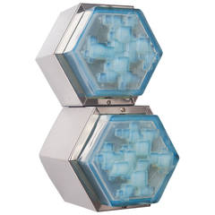 Sconces in the manner of Poliarte, Hexagon Base and Blue Glass Shade, 1960s
