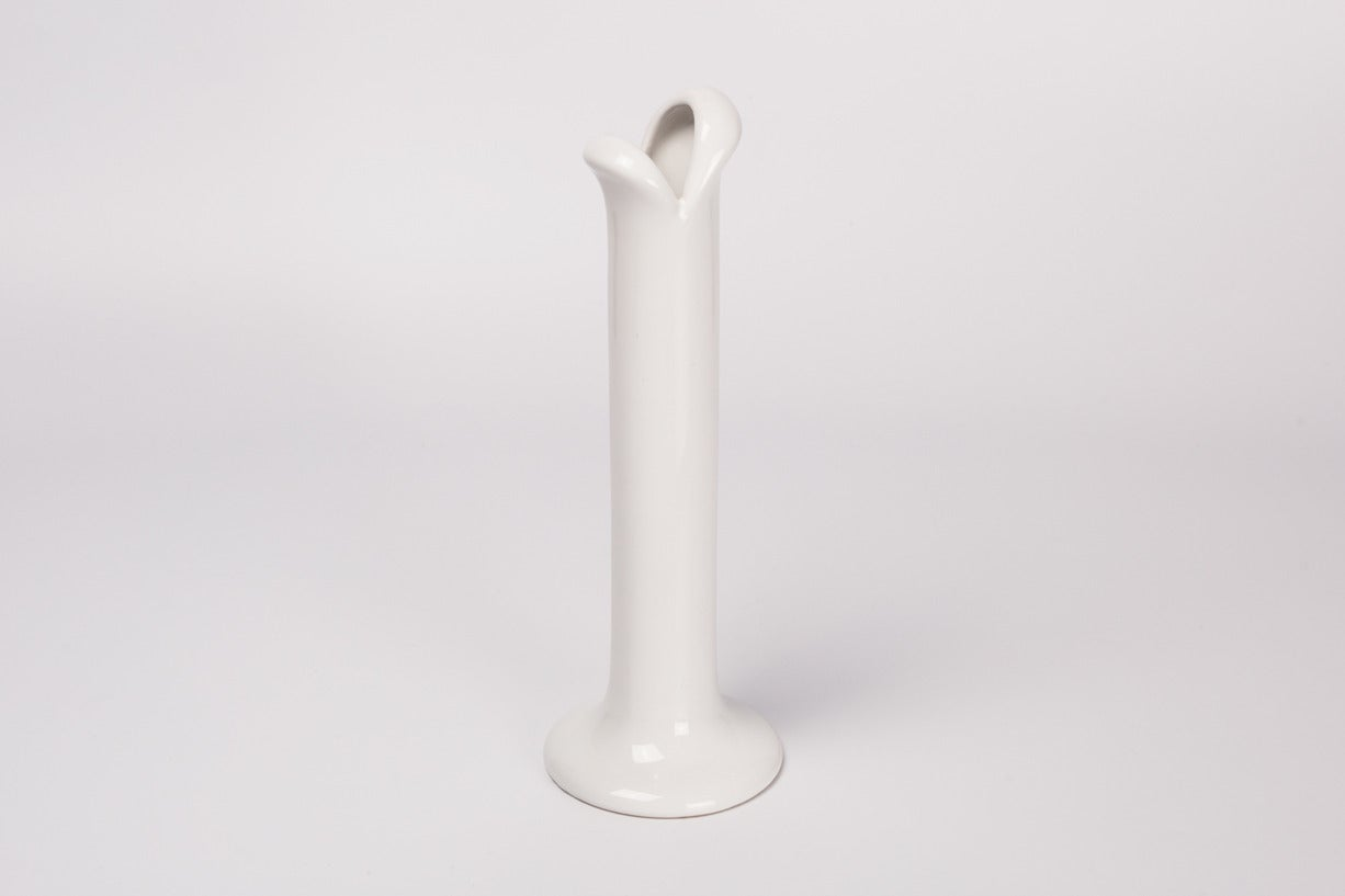 Italian White Mouth Vase by Mancioli for Raymor, Handmade in Italy, 1970s For Sale