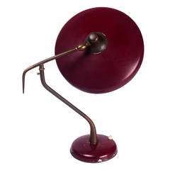 Desk Lamp by Oscar Torlasco for Lumi, Organic Brass and Deep Red Metal, 1950