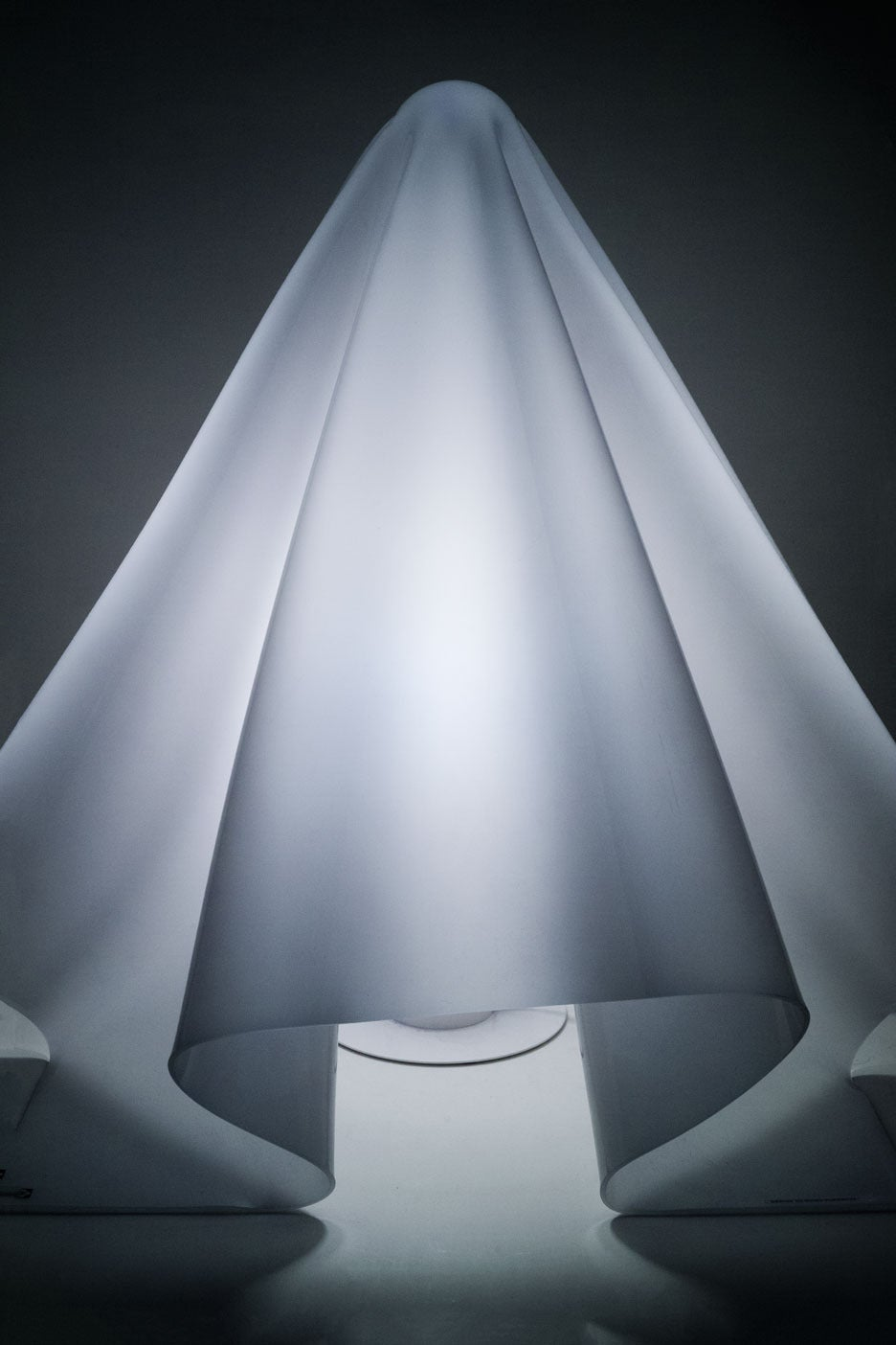 Minimalist Large White Hand-Formed Ghost Lamp by Shiro Kuramata, 1970s