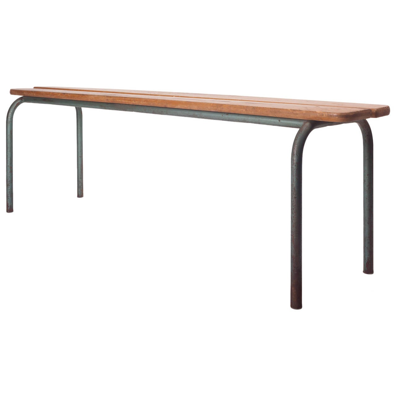 French Industrial Bench In The Manner Of Jean Prouve Wood And Metal 1940s At 1stdibs