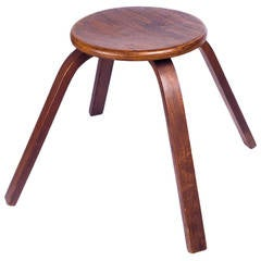 Mid-Century French Wood Stool, Dark Wood Grain and Bentwood Legs, 1950s
