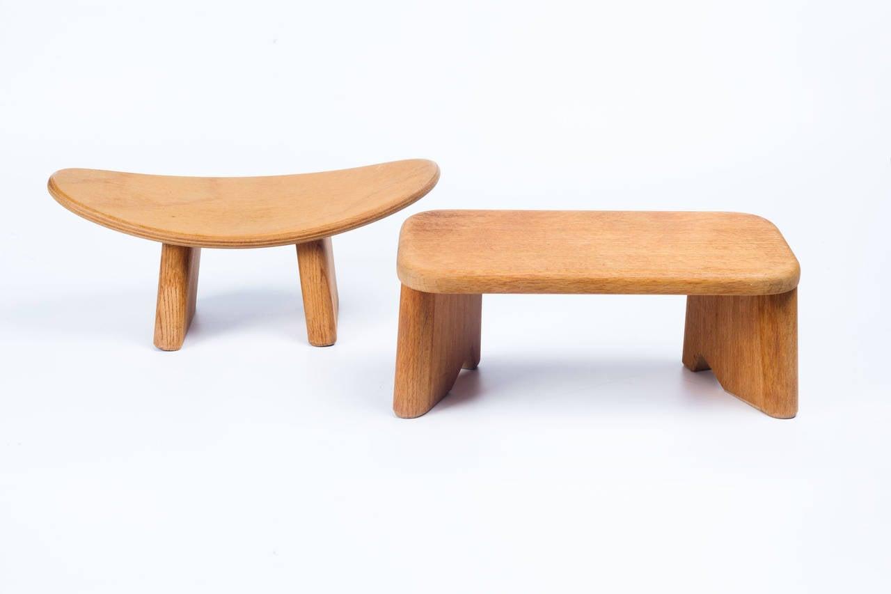 Small French Meditation Wood Stools By Alain Gaubert