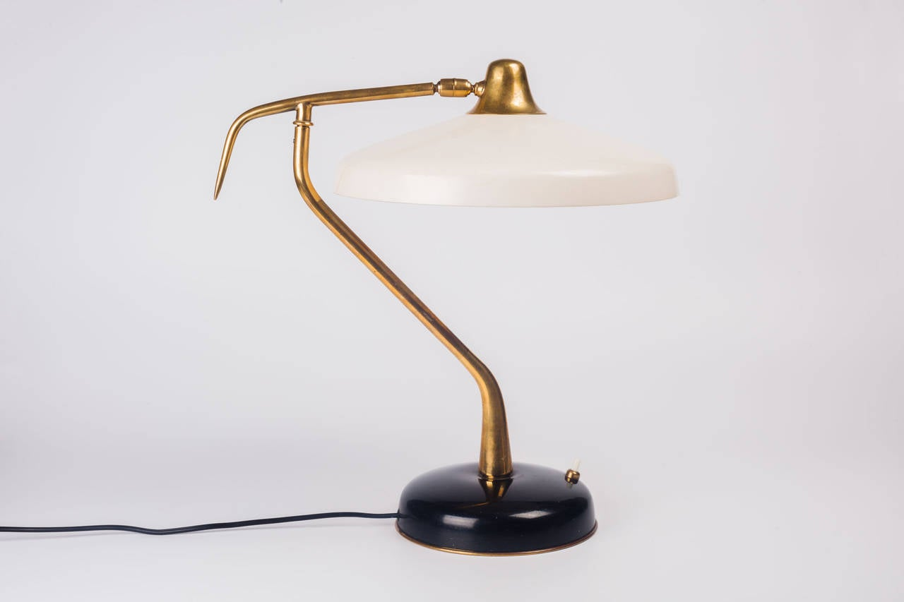 table lamp by oscar torlasco for lumi brass and metal black and white. Black Bedroom Furniture Sets. Home Design Ideas