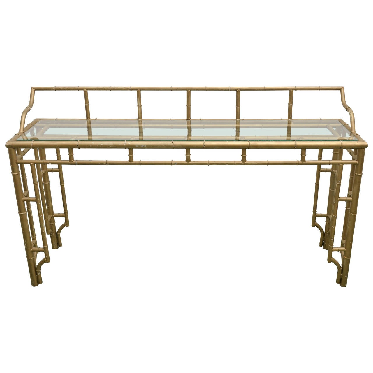 Faux Bamboo Metal Console Table At 1stdibs
