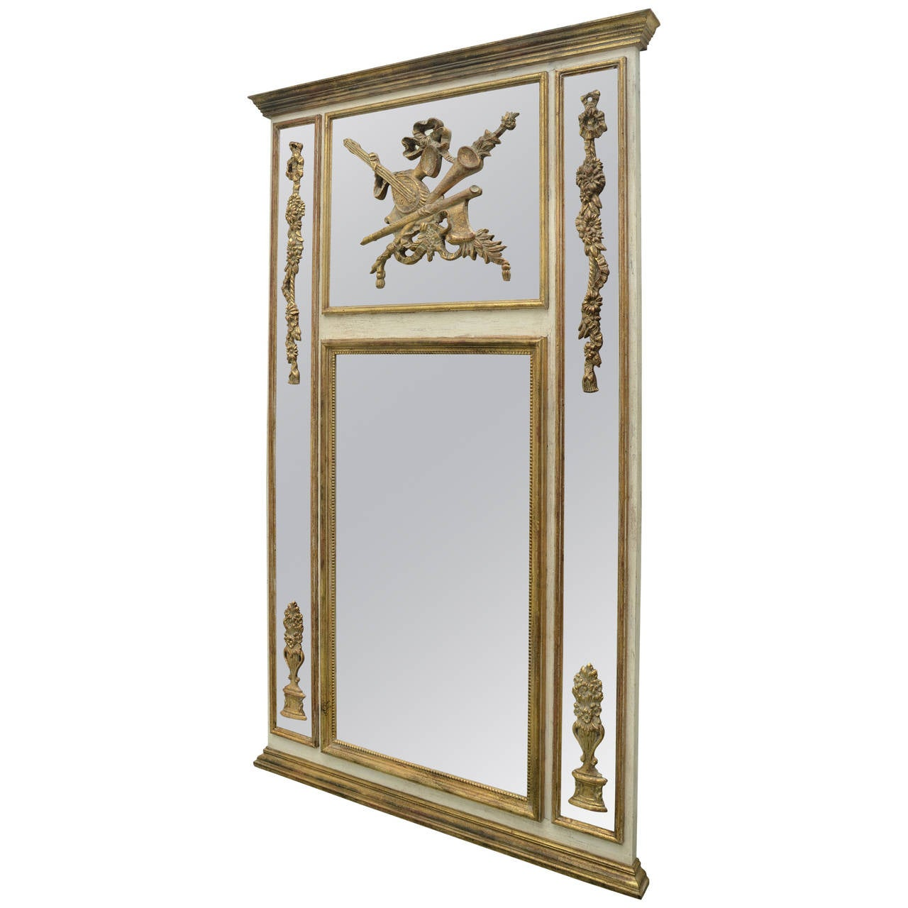 20th century large gold gilt trumeau style italian mirror for Large gold floor mirror