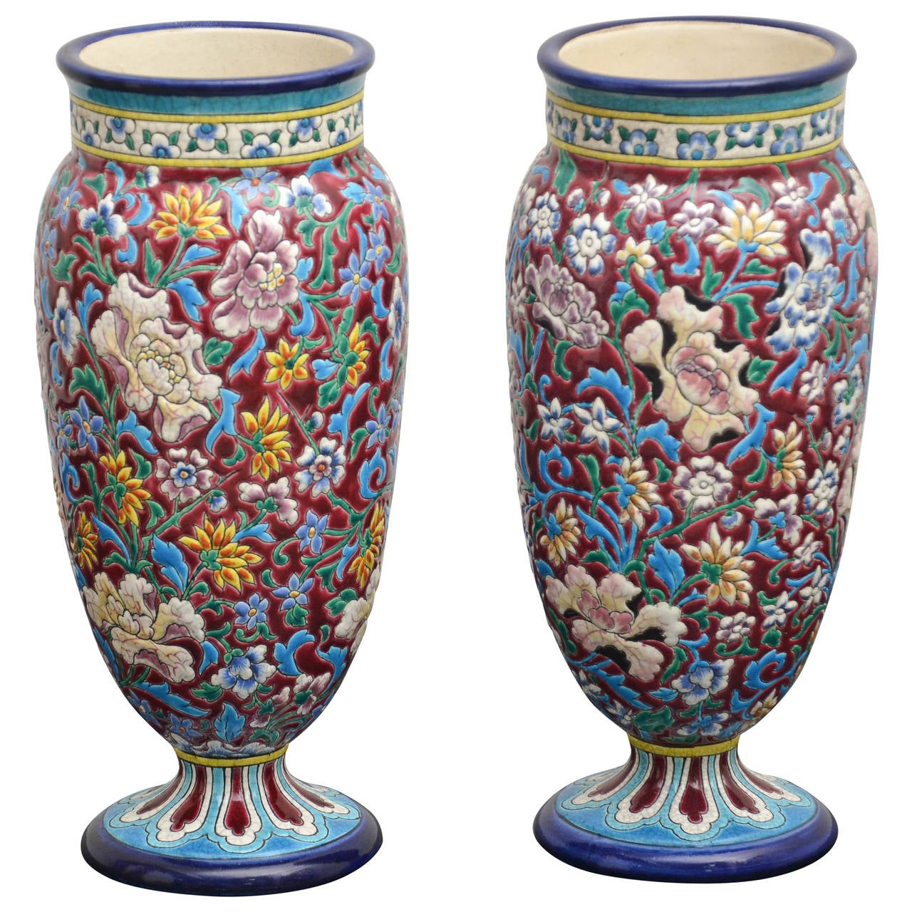 19th Century French Longwy Pottery Vases For Sale