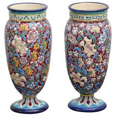 19th Century French Longwy Pottery Vases