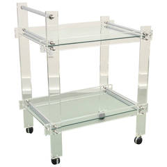 Midcentury Lucite and Chrome Rolling Bar Cart