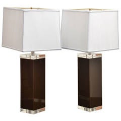 Midcentury Pair of Brown Lucite Square Column Table Lamps