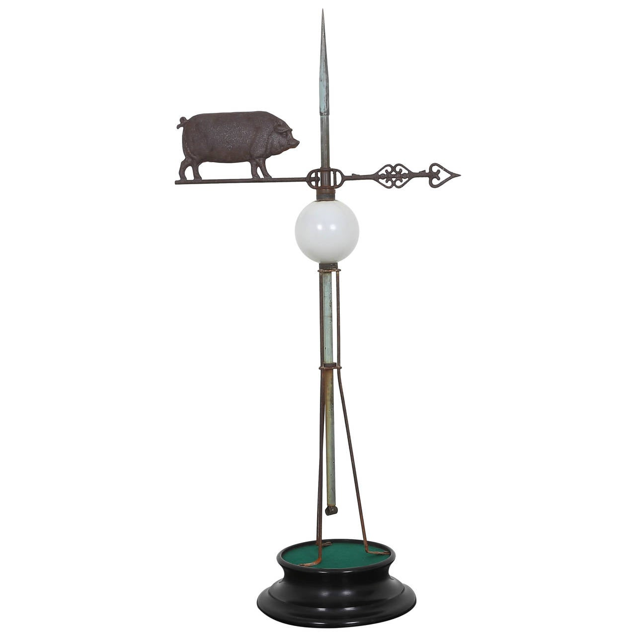 19th Century Pig Weathervane with Milk Glass Insulator Ball