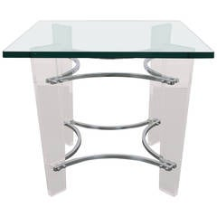 Mid-Century Charles Hollis Jones Chrome and Lucite Table