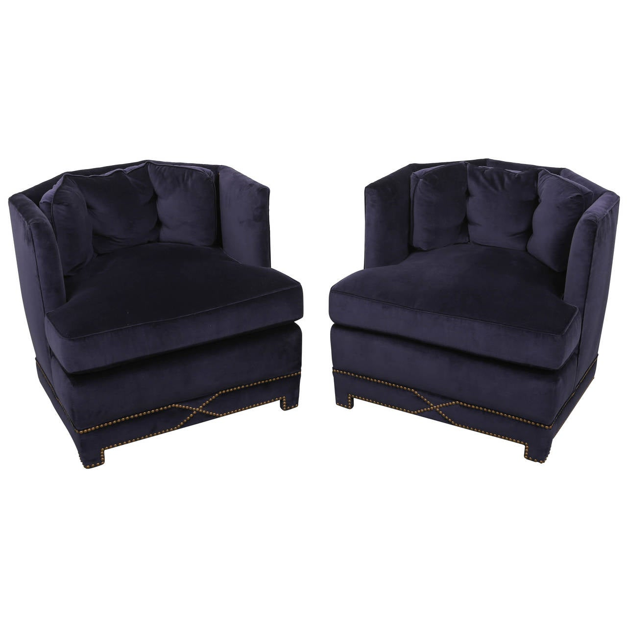 mid century pair of blue velvet club chairs for sale at 1stdibs. Black Bedroom Furniture Sets. Home Design Ideas
