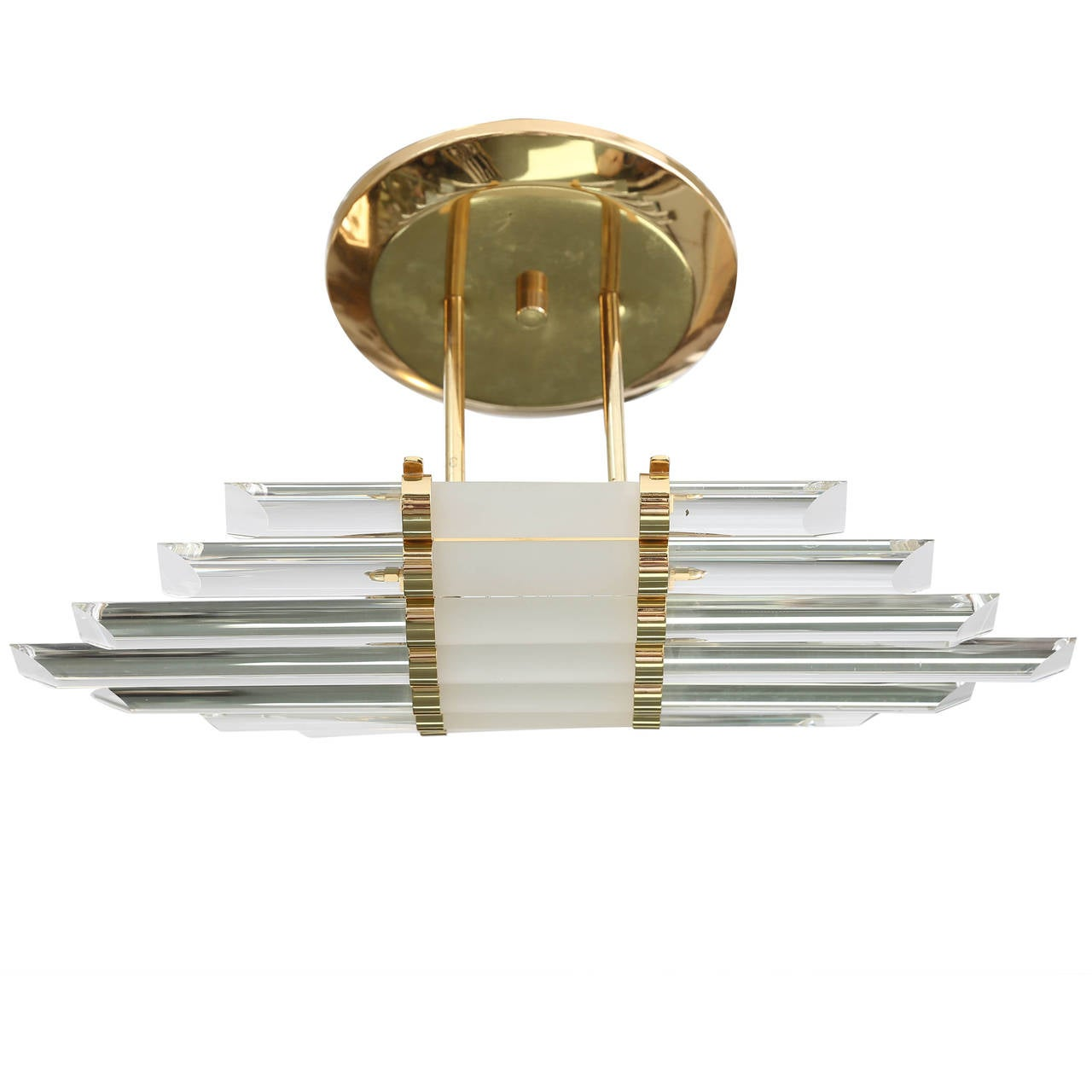 Mid-Century Skyscraper Glass Rod Wall Sconces with Brass Fittings  For Sale