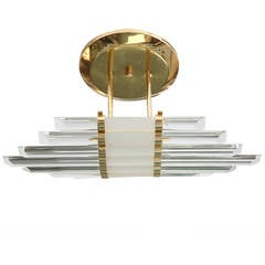Mid-Century Skyscraper Glass Rod Wall Sconces with Brass Fittings