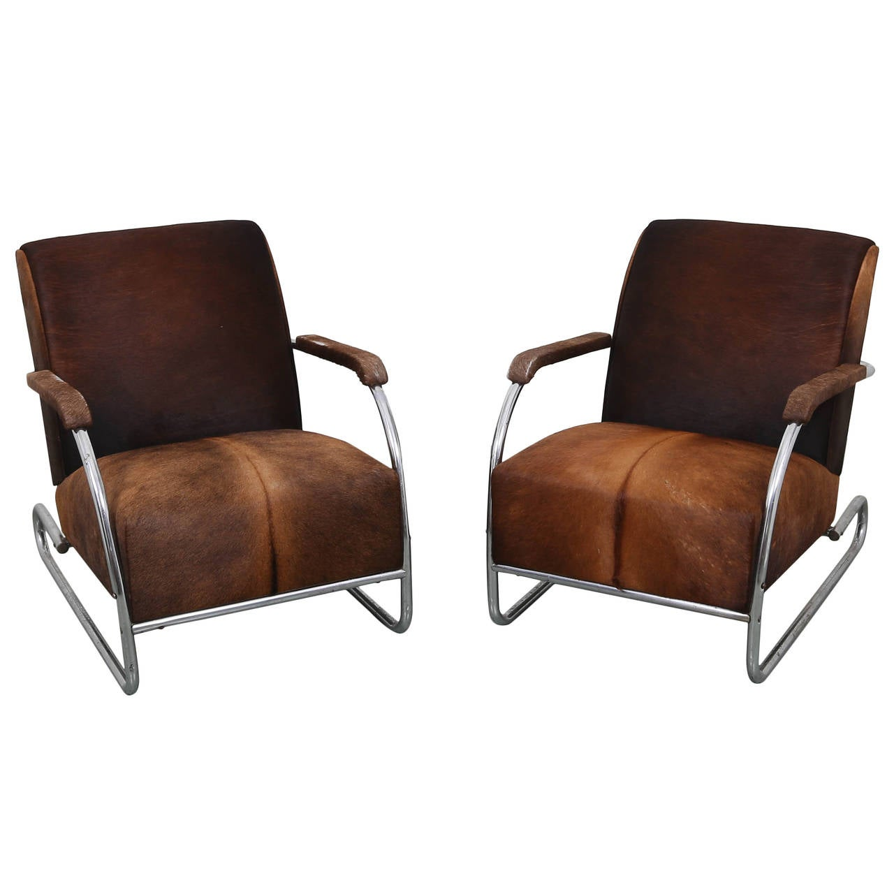 Pair Of Art Deco Cowhide And Chrome Lounge Chairs At 1stdibs