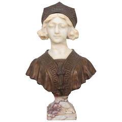 19th Century Affortunato Gory Marble and Bronze Clad Bust of a Maiden