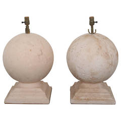 Pair of Vintage Composition Sphere Lamps