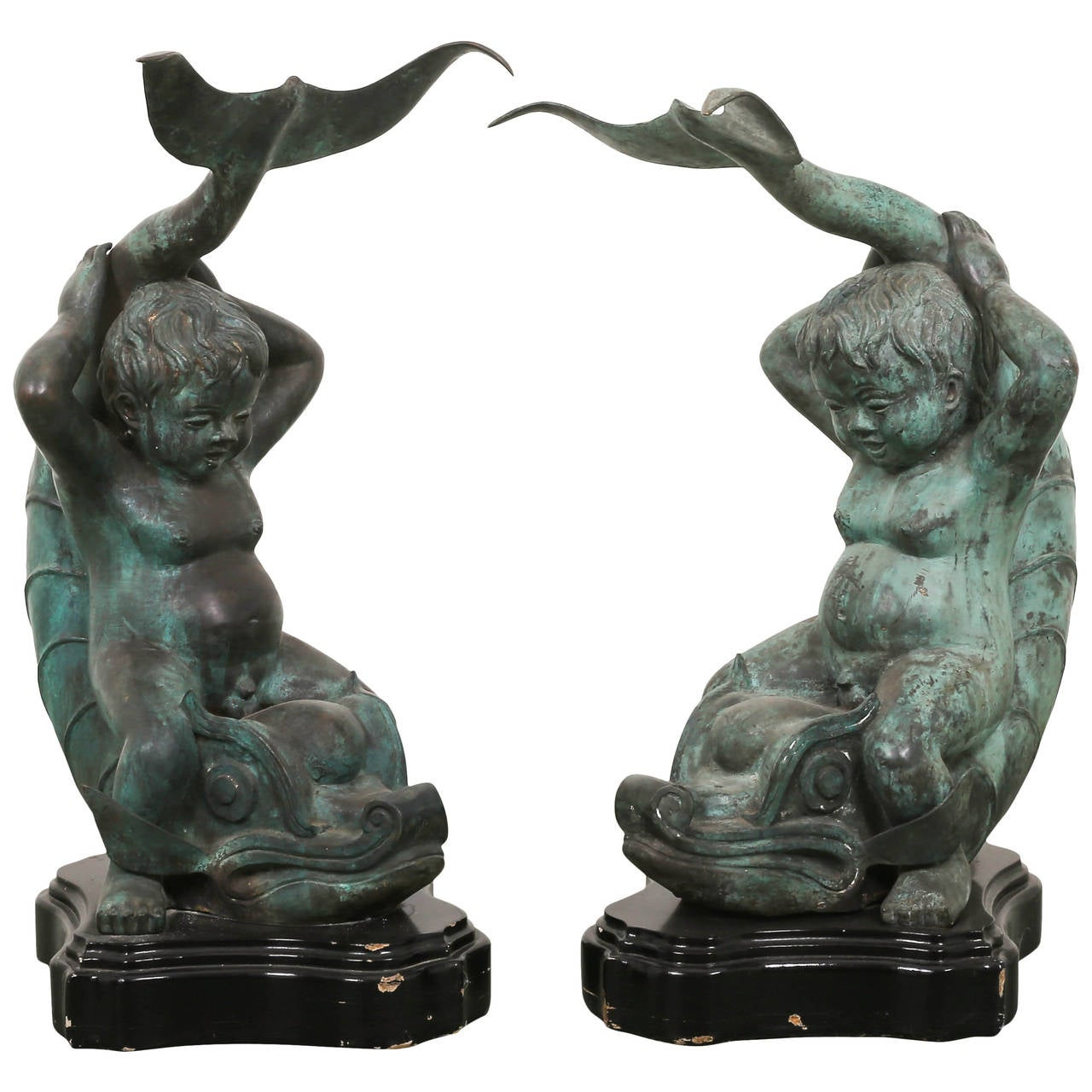 Superbe Pair Of Bronze Putti On Dolphin Garden Statues For Sale