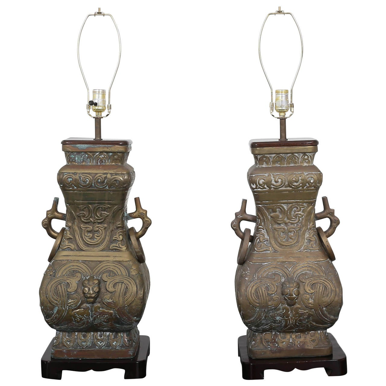 Pair of Bronze Chinoiserie Table Lamps For Sale