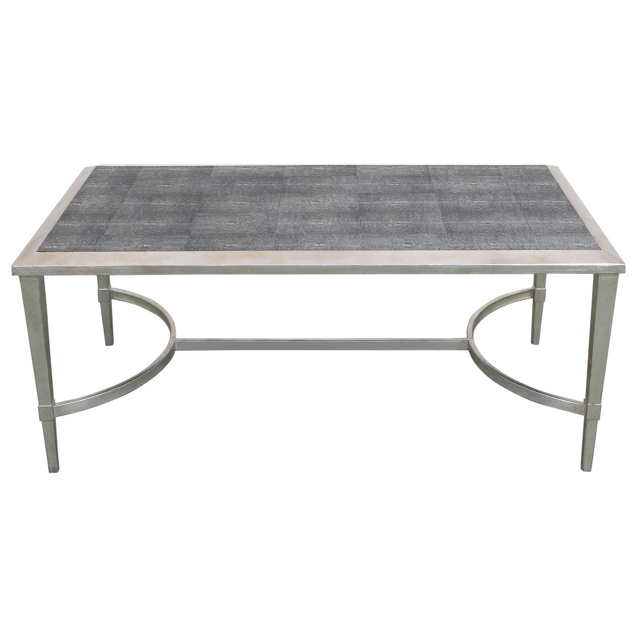 Hollywood regency faux shagreen leather and silver leaf for K furniture coffee table