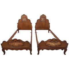 Pair of French Walnut Twin Beds with Cherub Paintings
