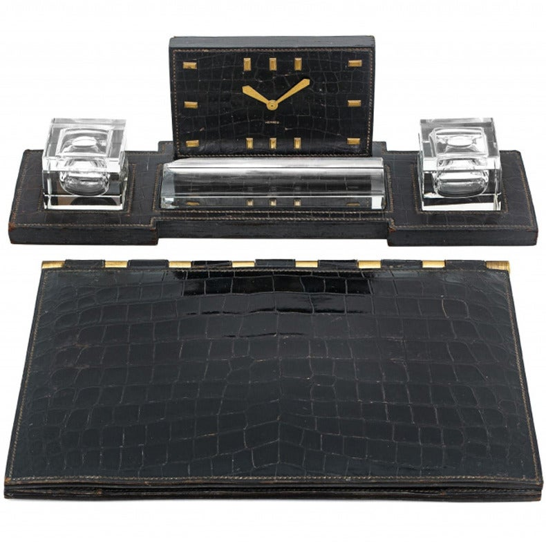 herm s dupr lafon clock crocodile leather desk set 1950 at 1stdibs. Black Bedroom Furniture Sets. Home Design Ideas