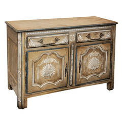 Painted French Louis XVI 18th Century Cupboard Buffet with Shell Motif