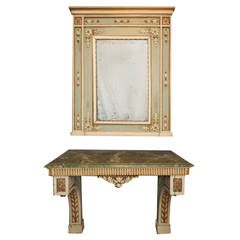 Italian Painted Console Table and Mirror, circa 1780