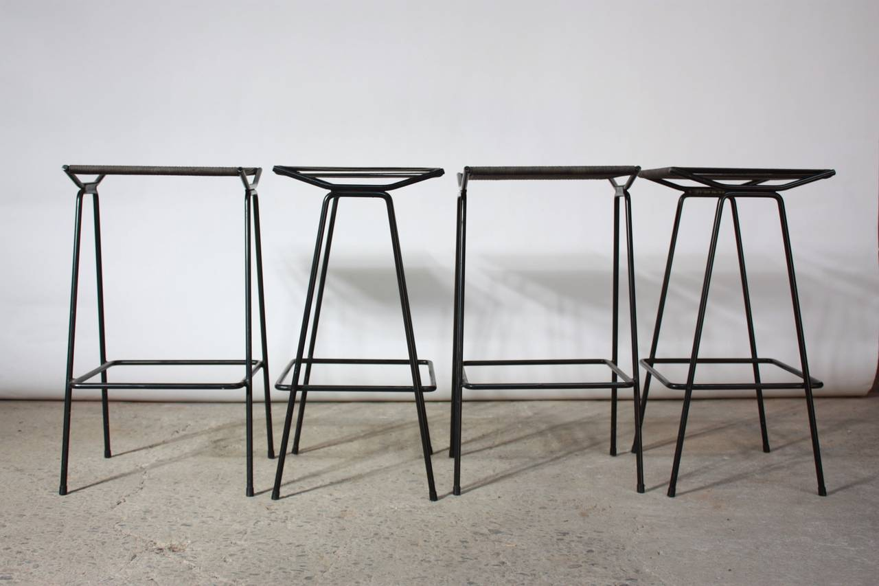 Set of Four Allan Gould Iron and Rope Stools For Sale 2
