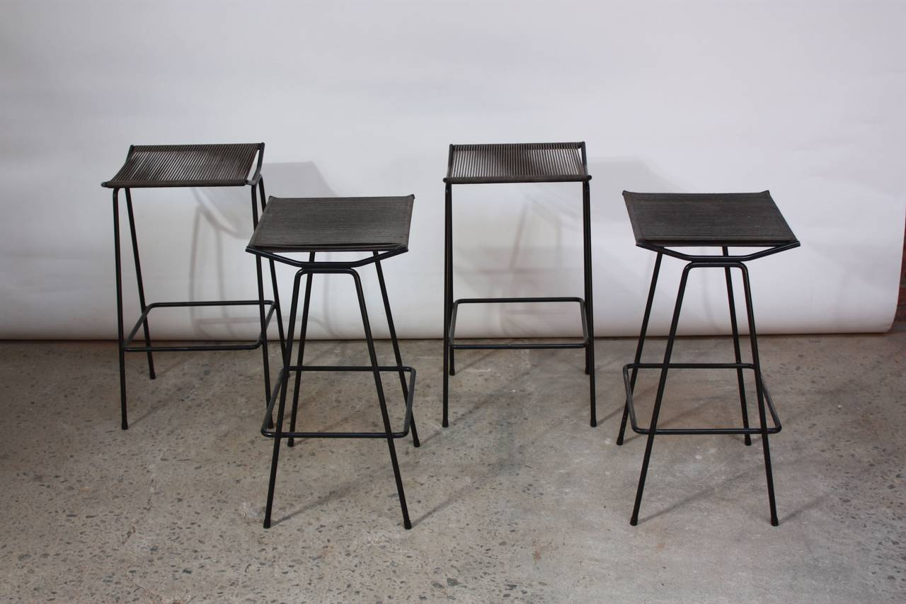 Set of Four Allan Gould Iron and Rope Stools For Sale 3