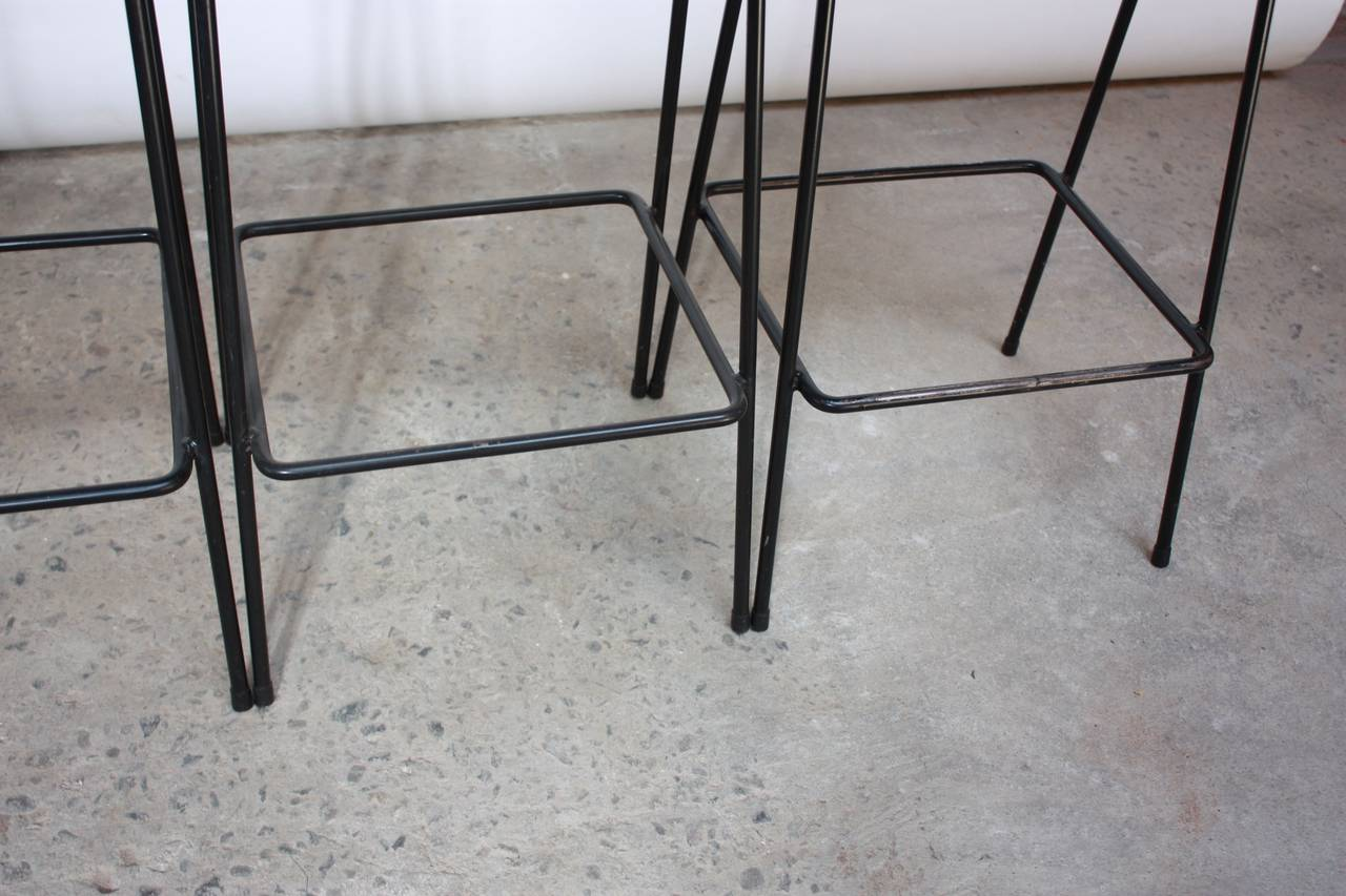 Mid-Century Modern Set of Four Allan Gould Iron and Rope Stools For Sale