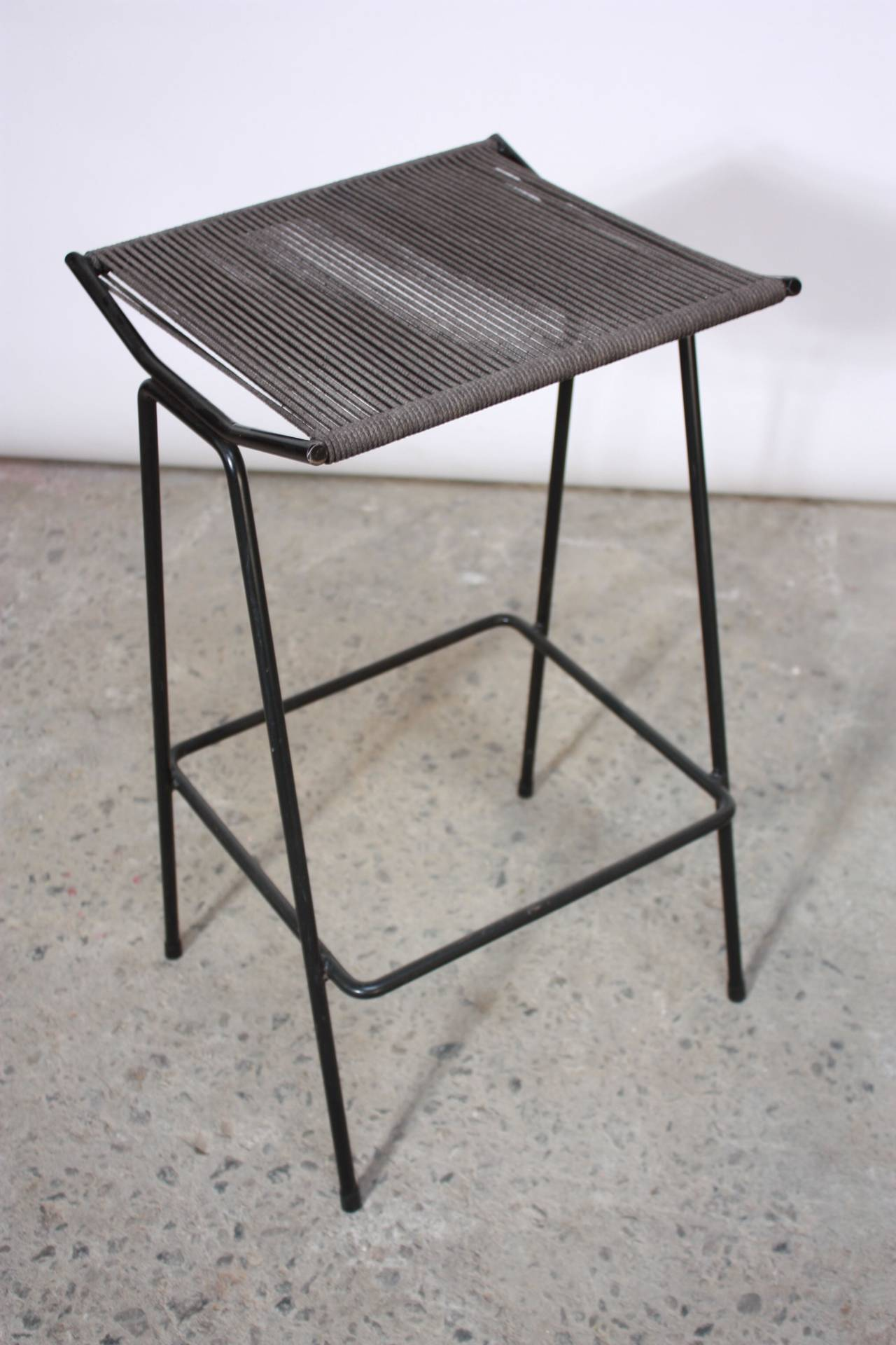 American Set of Four Allan Gould Iron and Rope Stools For Sale