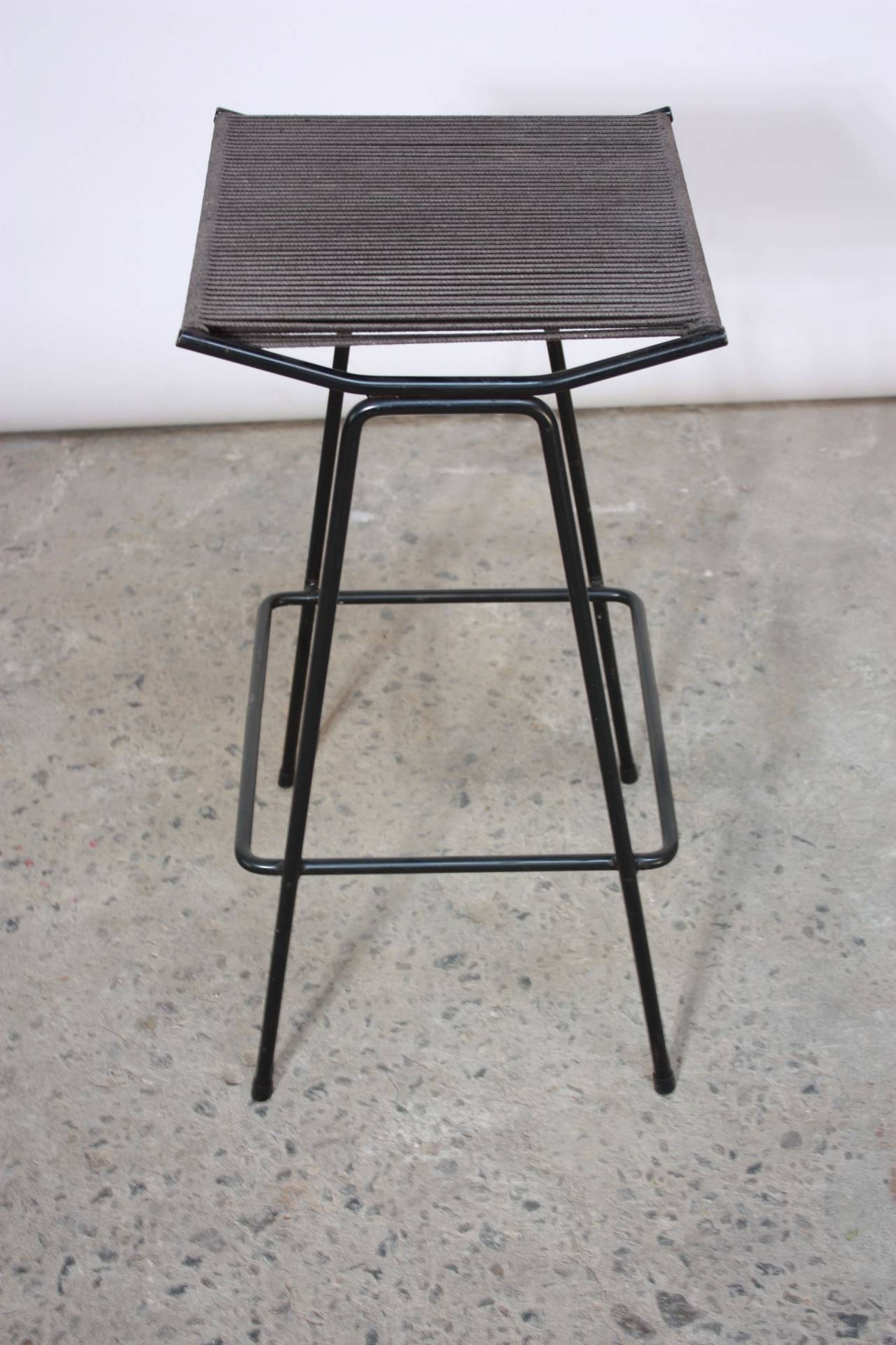 Set of Four Allan Gould Iron and Rope Stools In Good Condition For Sale In Brooklyn, NY