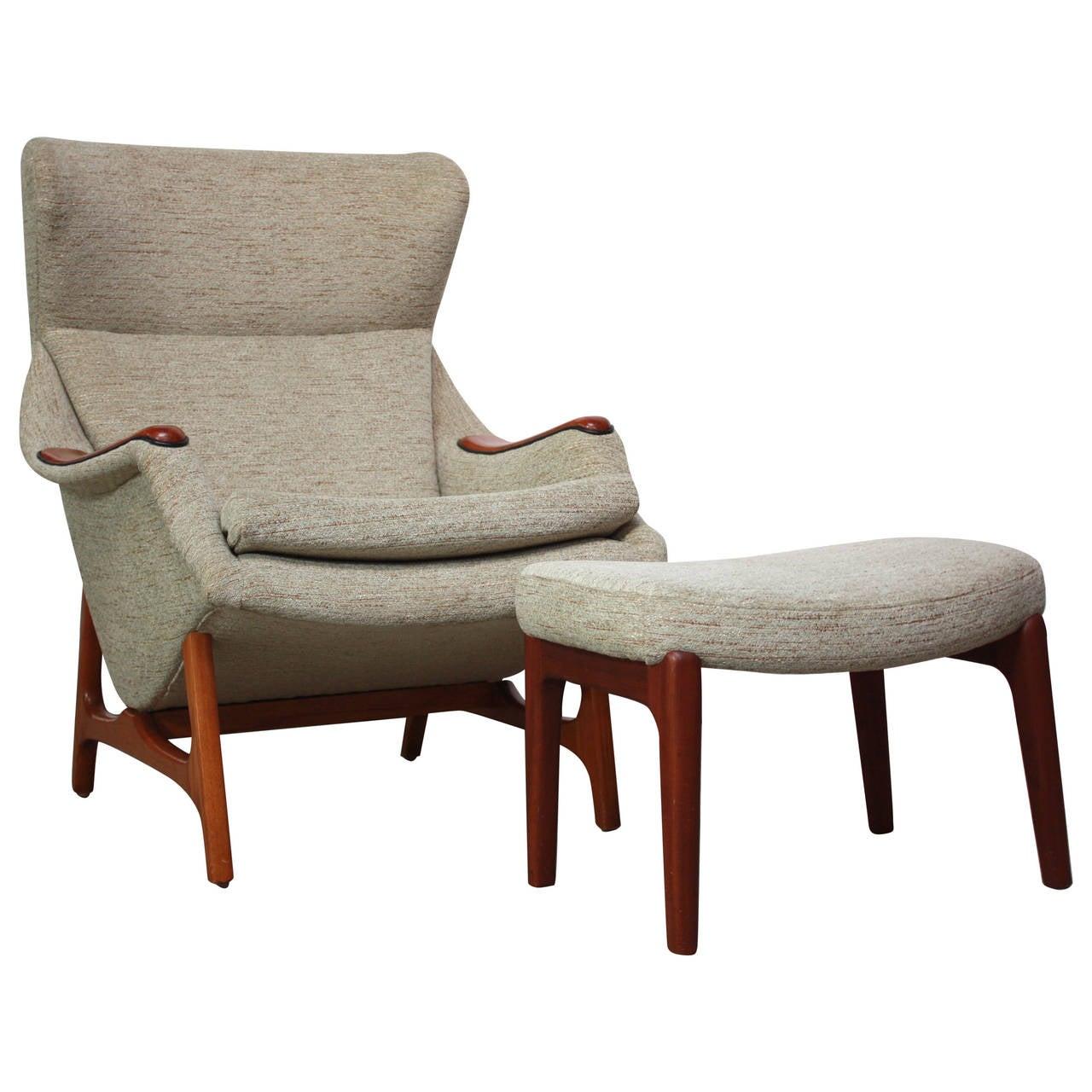 B J Hansen Norwegian Lounge Chair and Ottoman at 1stdibs