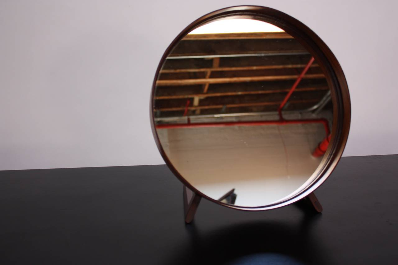 Swedish Rosewood Table Mirror by Uno and Östen Kristiansson for Luxus For Sale 4