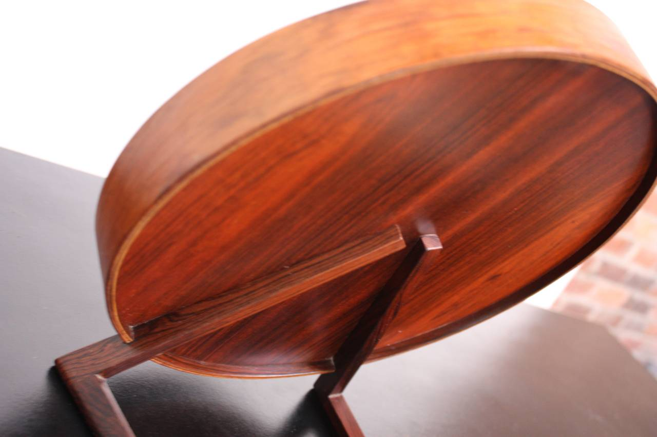 Swedish Rosewood Table Mirror by Uno and Östen Kristiansson for Luxus In Good Condition For Sale In Brooklyn, NY
