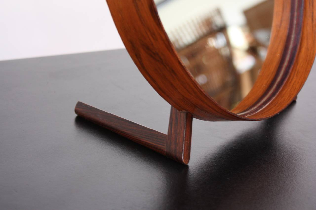 Swedish Rosewood Table Mirror by Uno and Östen Kristiansson for Luxus For Sale 3