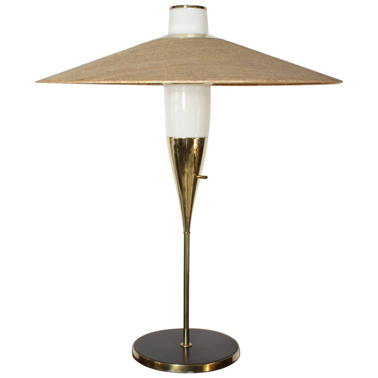 American Modern Brass And Glass Table Lamp With Oversized